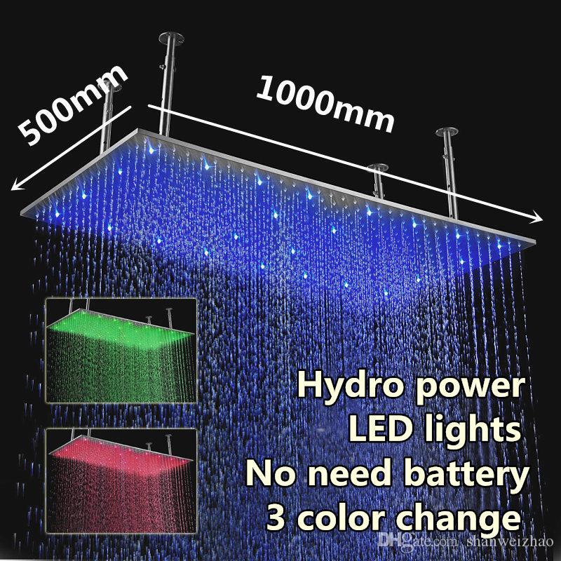 직사각형 큰 크기의 샤워 헤드 500 * 1000mm 304 sus 3 색 변경 하이드로 전원 led 샤워 헤드를 닦 았