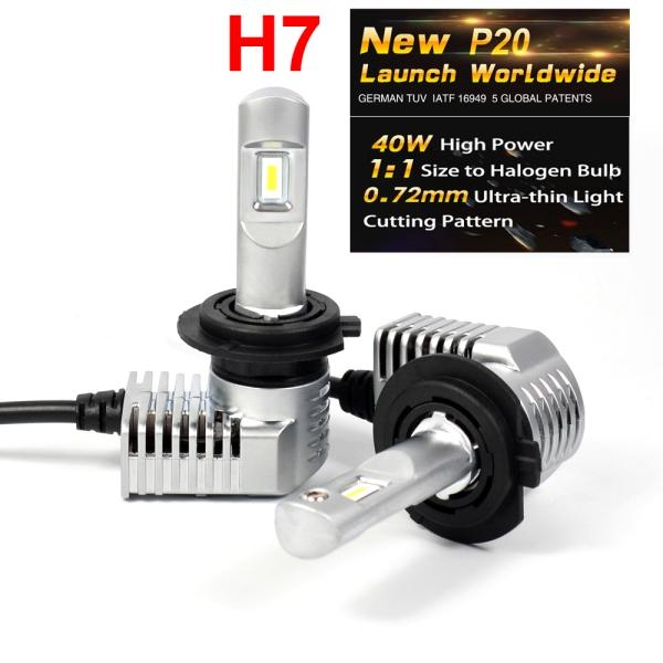 1 세트 슈퍼 밝은 소형 미니 크기 H7 CSP 칩 P20 자동차 LED 헤드 라이트 올인원 터보 볼 팬 1 : 1 SIZE 전면 전구 램프 45W 5200LM 6000K