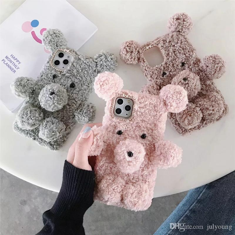3D Bear Warm Fur Hair Soft TPU Case For Iphone 11 Pro XR XS MAX 8 7 6 Silicone Fluffy Chromed Cases Gel Phone Fashion Luxury Cute Cover