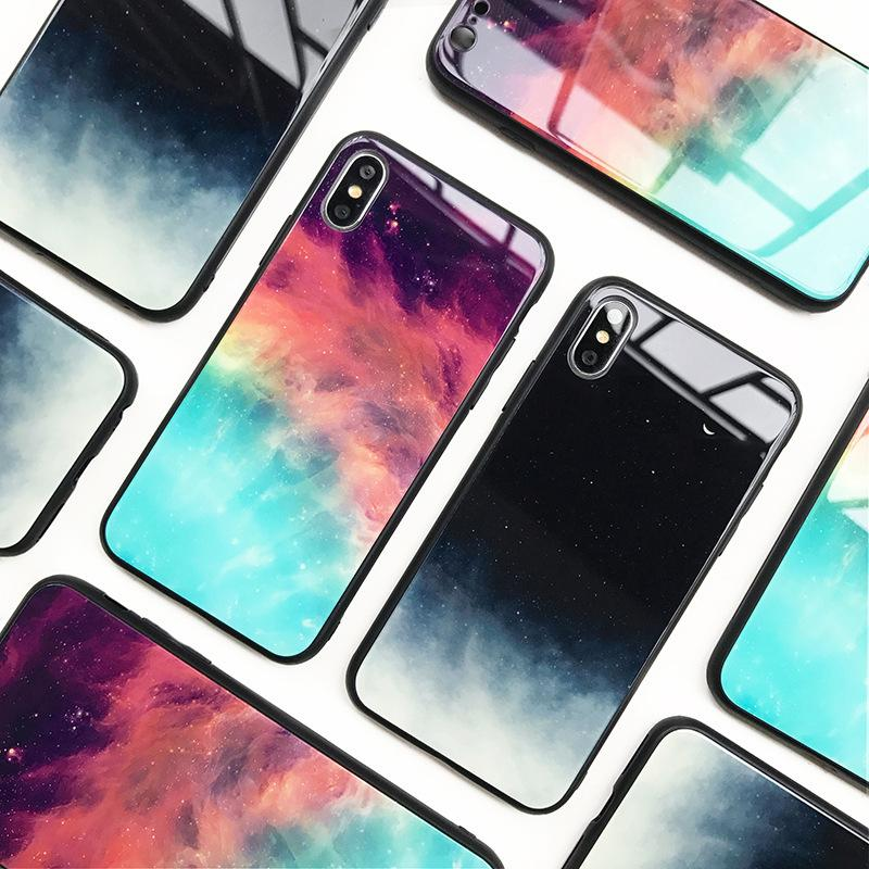 Padrão de estrela para a Apple iphoneXs max XR telefone de vidro caso i7 / i8plus all-inclusive capa iphone 6/7/8 TPU + PC escudo da proteção do telefone móvel