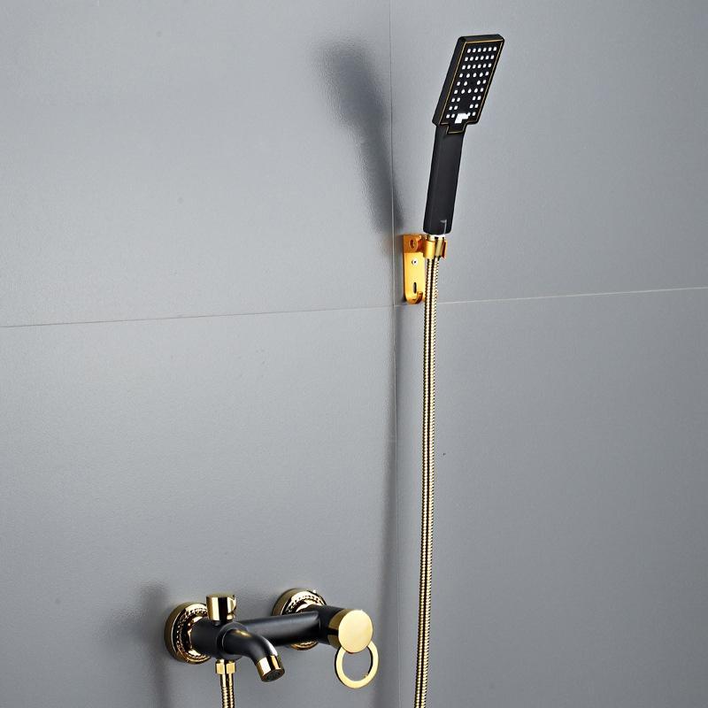 Ванная комната смеситель для душа Смеситель набор латунь ванной Ванна смеситель для душа Ванна Tap Черный и Head Gold Wall смесителями