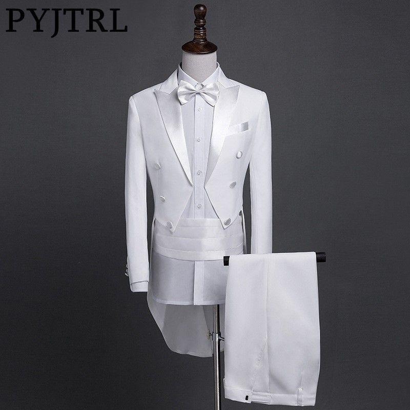 PYJTRL New Plus Size S-4XL Mens Classic Black White Shiny Lapel Tail Coat Tuxedo Wedding Groom Stage Singer Four Piece Suit