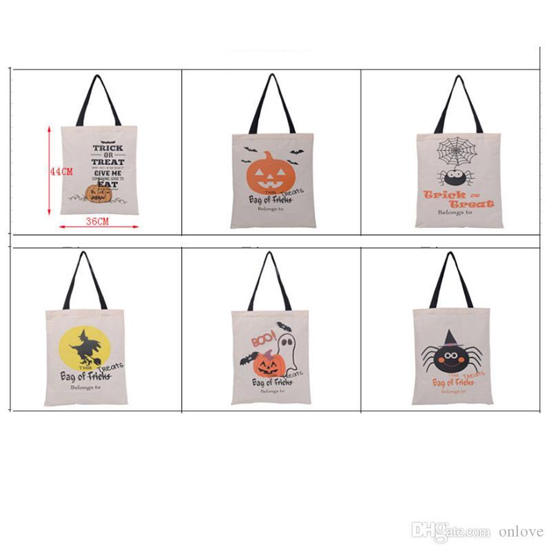 6 Arten Baumwollsegeltuch-Halloween-Geschenk-Beutel-Kürbis-Teufel-Spinne druckten Handtaschen Süßigkeitsgeschenk Sack-Beutel XD20674