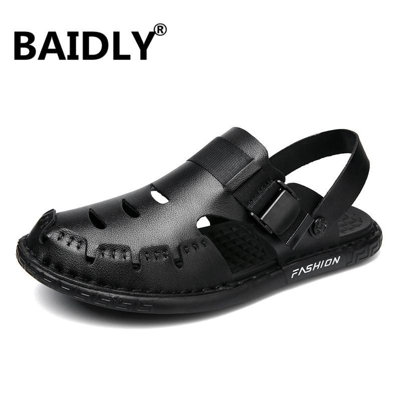 Männer Kuh-Leder-Sandalen Outdoor-Sommer-handgemachte Sandalen Männer Breathable Freizeitschuhe Schuhe Männlich Gehen Big Size