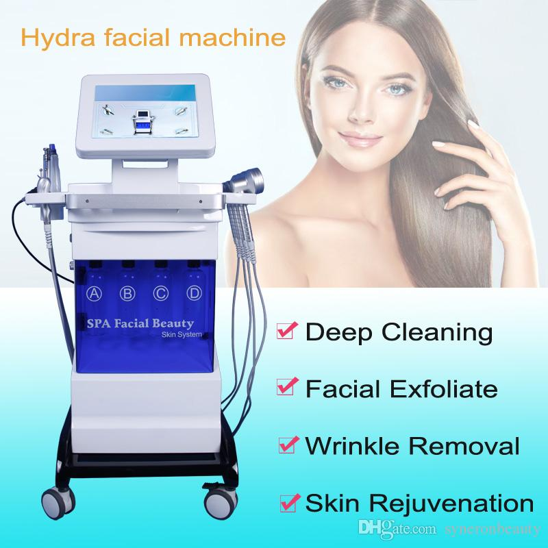 Vertikal 8 in 1 Hydro Mikrodermabrasion Ultraschall-Hautpflege Verjüngung hydrafacial Wasser Peeling Akne-Behandlung Falten entfernen Maschine