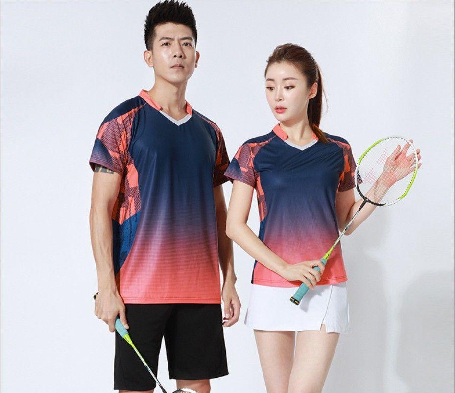 Nuevo cuatro estaciones de poliéster seca traje a la medida de las mujeres del juego de tenis de la velocidad de manga corta de los hombres del juego de tenis