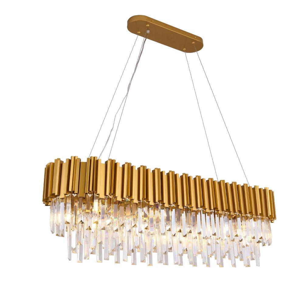Nuovo arrivo lampadario di cristallo Light Gold Rettangolo apparecchi di illuminazione Lustri apparecchio per pranzo Soggiorno Lamp Hotel