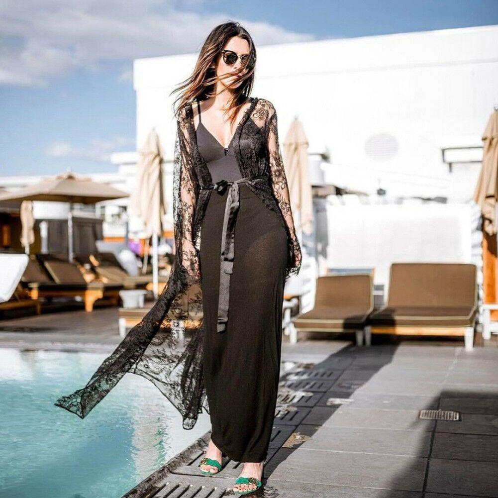 مثير المرأة الشيفون انظر من خلال بوهو القمصان الأزهار طويلة الأكمام التستر قميص المرأة كيمونو التفاف بحر قميص طويل تيز الأعلى