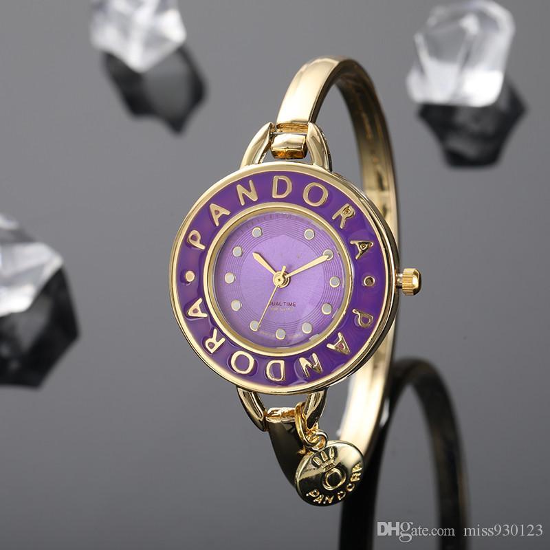 Pandora Lüks Kadınlar İzle 30mm Kristal Dial Bilezik Kuvars Saatler bayanlar Gül altın bilezik elbise hediye saatler izlemek