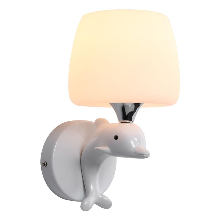 nordic Minimalism resin dolphin led wall lamp children white glass led bedroom bedside lamps art deco sconces indoor lighting