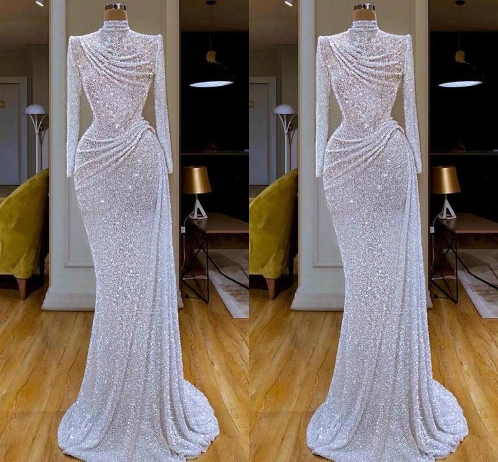 Bling Bling der neue Ankunfts-elegante Nixe-Abend-Kleid-Juwel Ausschnitt Pailletten Langarm-Schleife-Zug-formalen Kleid-Abend-Partei-Kleider