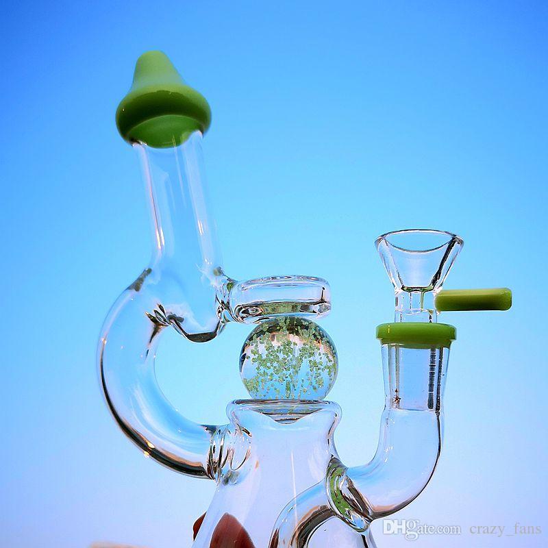Glow In The Dark Ball Samll Bongs Showerhead Percolator Glass Beaker Bongs Slitted Donut Perc Water Pipes Dab Rig With 14mm Glass Bowl