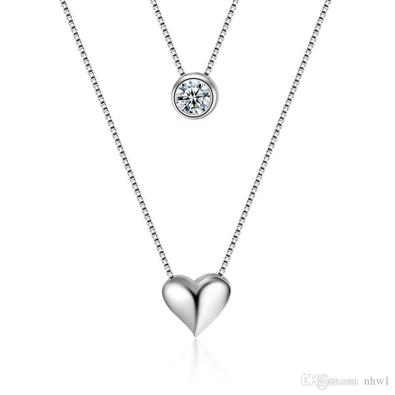 Fashion Stamped 925 Necklace Double Layer Chain Zircon Heart Pendants Necklaces For Women Choker Gift Valentines