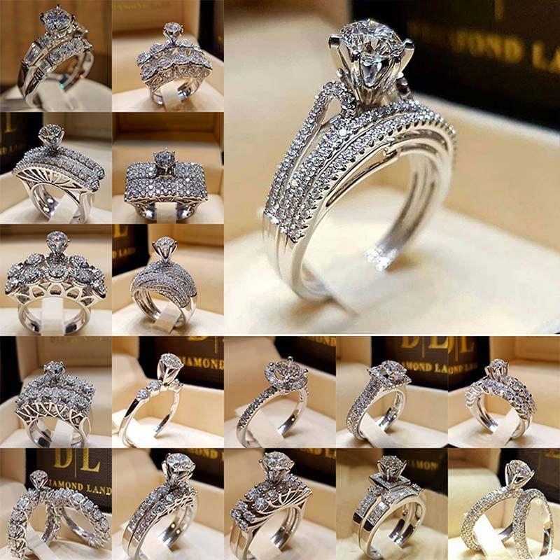 Kristal elmas yüzük Taşlı Taç Yüzük Nişan Alyans Set Wrap Gelin Kombinasyon Halkalar moda Takı Will ve Sandy hediye