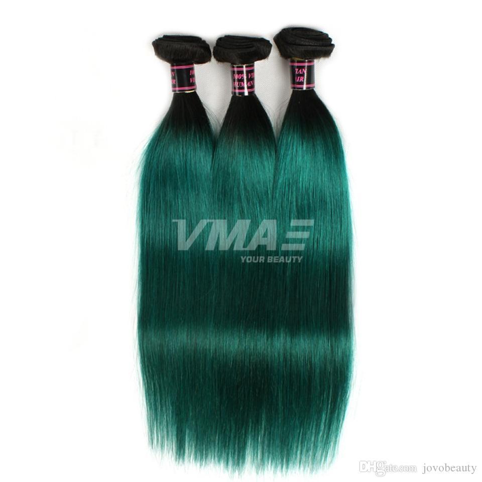 VMAE 브라질 인간의 머리 되죠 3 번들 자연 부드러운 직선 씨실 두 톤 # 1B / 녹색 옹 브르 컬러 버진 헤어 익스텐션