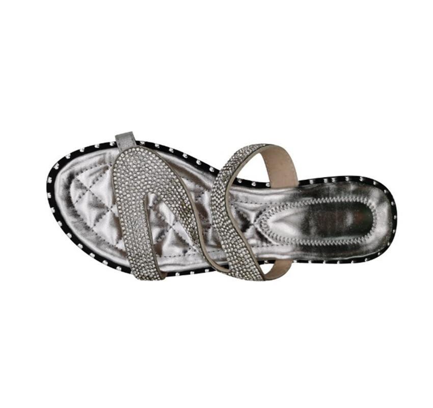 Nuevo de las mujeres zapatos de las sandalias Casual Zapatillas Fuera Palo El Rhinestone de la hebilla plana zapatillas PH-CFY20050914