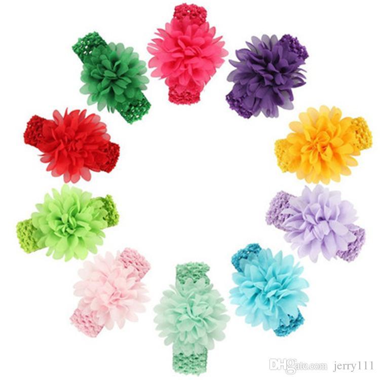 Baby Headwear Hauptblumen-Haar-Zusatz-Chiffon- Blume mit dehnbarem Haarband DHL FJ389 der weichen elastischen Häkelarbeitstirnbänder