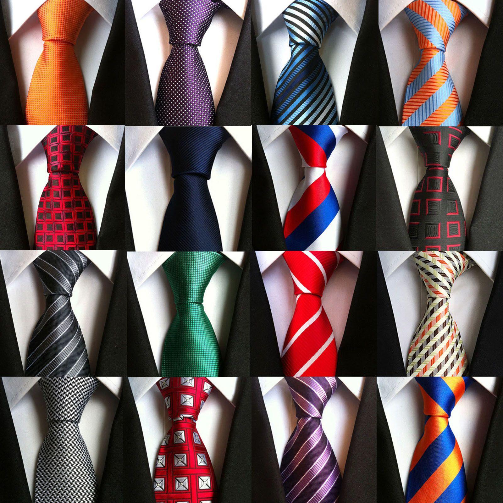 Moda 8cm corbatas de los hombres clásicos' rojo de la boda Lazos rayados Azul marino corbata de seda jacquard tejida para hombre Solid Dots corbatas