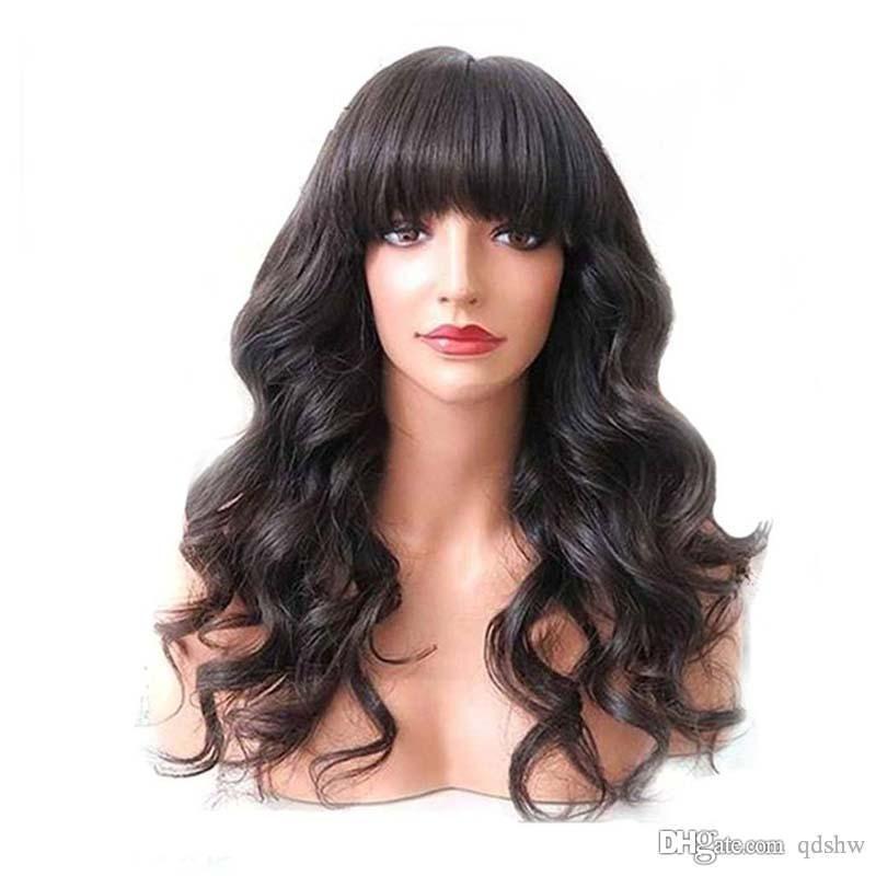 Парики человеческих волос шнурка HD с челкой для чернокожих женщин объемная волна девственницы бразильский прозрачный парик фронта шнурка HD челка с волосами младенца