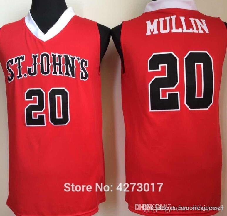 Università Maglie St John College Basketball 20 Chris Mullin Jersey Uomini Colore Rosso Bianco dell'Università di buona qualità Ncaa