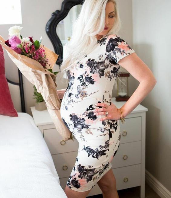 Europa y los Estados Unidos sexy salvaje estampado elástico de manga corta vestido suelto de maternidad