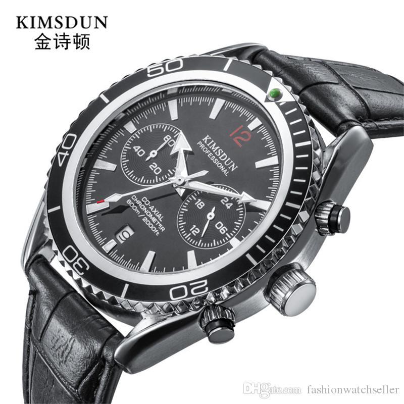 KIMSDUN Fashion Luxury Multifunzione Sport Watch Uomo Impermeabile Quarzo Orologi da polso Resistente all'acqua Data automatica di alta qualità