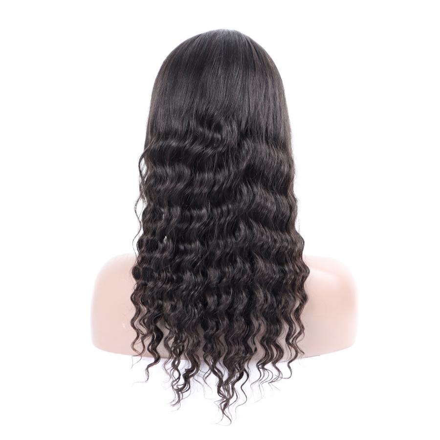 """10A Peru gevşek derin Peruk dantel ön insan saçı 10 """"-26"""" Derin Gevşek İnsan Saç Dantel Açık Peruk Brezilyalı Saç perukları dalga"""