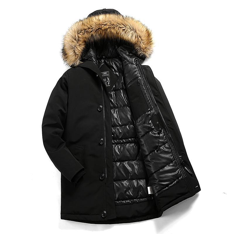Hommes Marque d'hiver col en fausse fourrure à long coton épais manteau de veste Parkas hommes capuche poches Outwear Veste imperméable Parka hommes