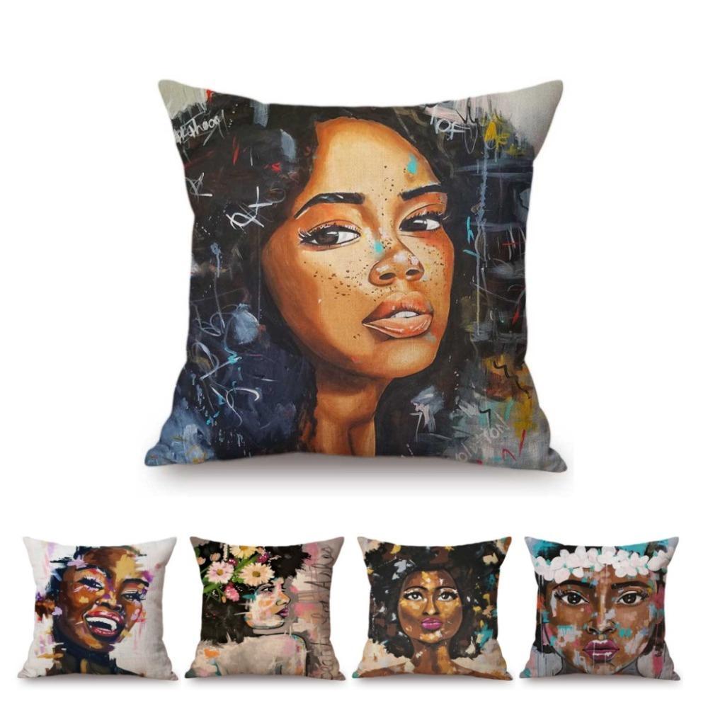 패션 아프리카 여성 소녀 공주 예쁜 얼굴 유화 홈 장식 소파 던져 베개 케이스 코튼 린넨 쿠션 커버