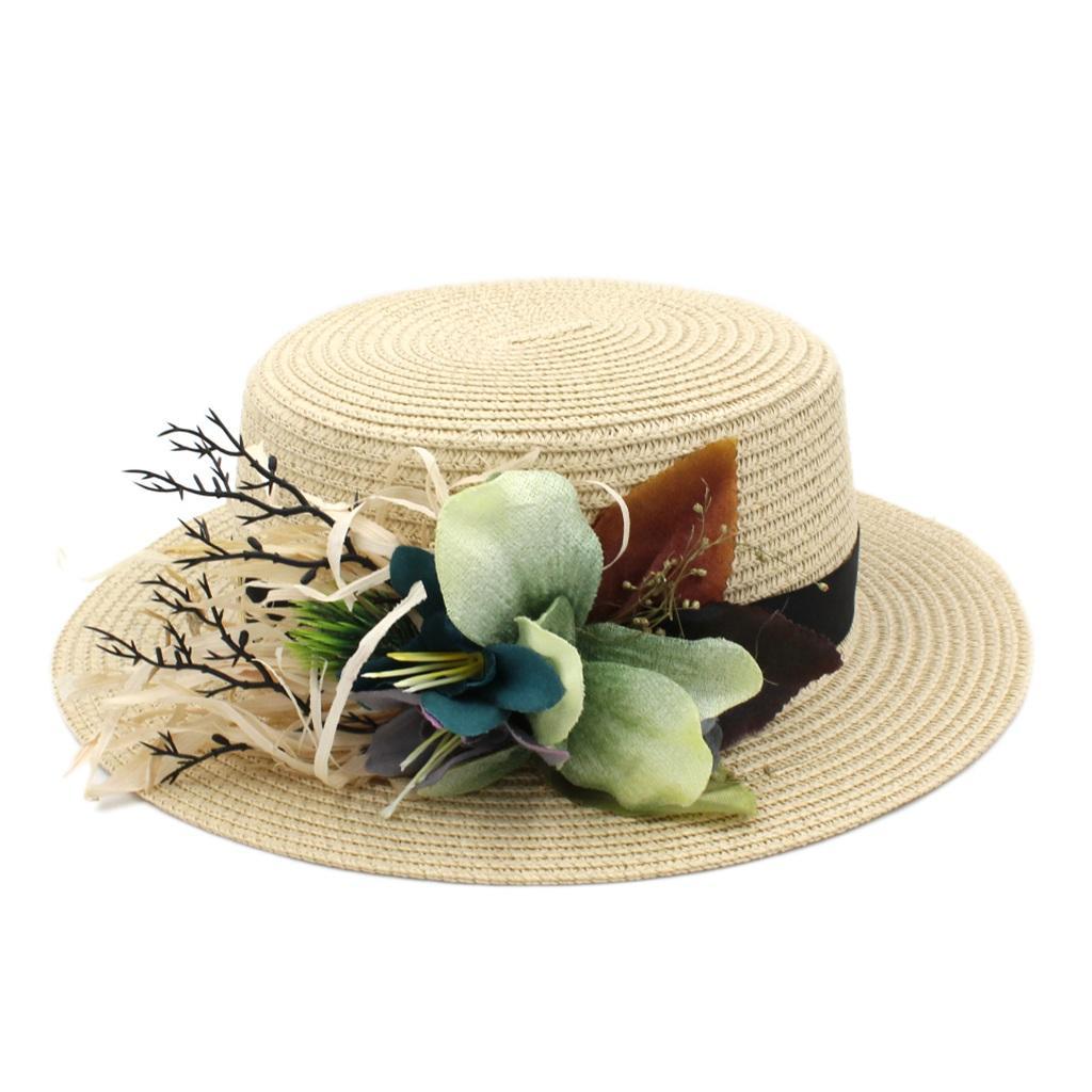 Fashion Women's Boater Hat Straw Hat Summer Beach Sun Sailor Bowler Flat Top Cap Flower Ribbon 2