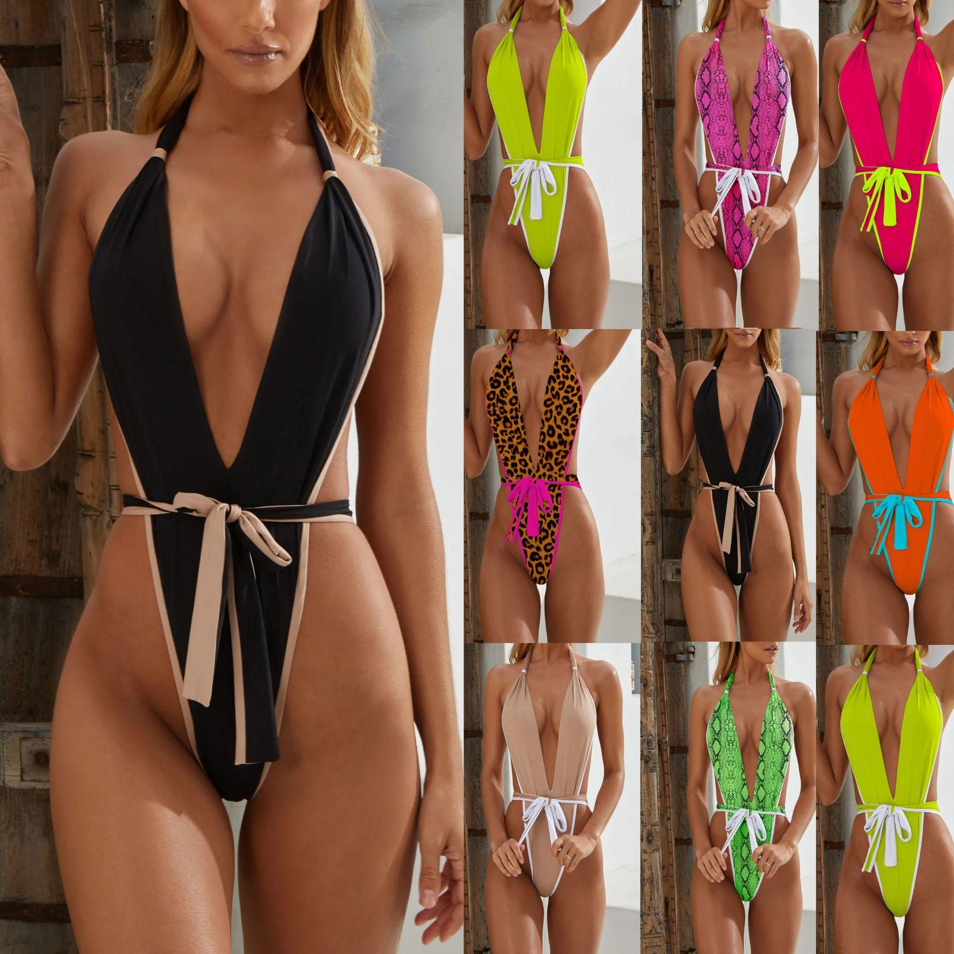 ملابس السباحة النسائية 8 ألوان السباحة قطعة واحدة عارية الذراعين الصيف النساء بيكيني العميق الخامس الرقبة مثير الأوروبي والأمريكي صالح المايوه