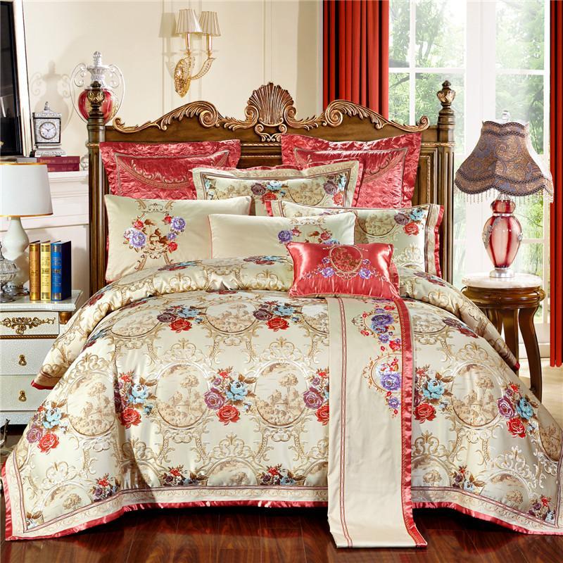 유럽 로얄 웨딩 실크 새틴면 자카드 침구 세트 퀸 킹 이불 커버 침대 시트 침대 리넨 베개
