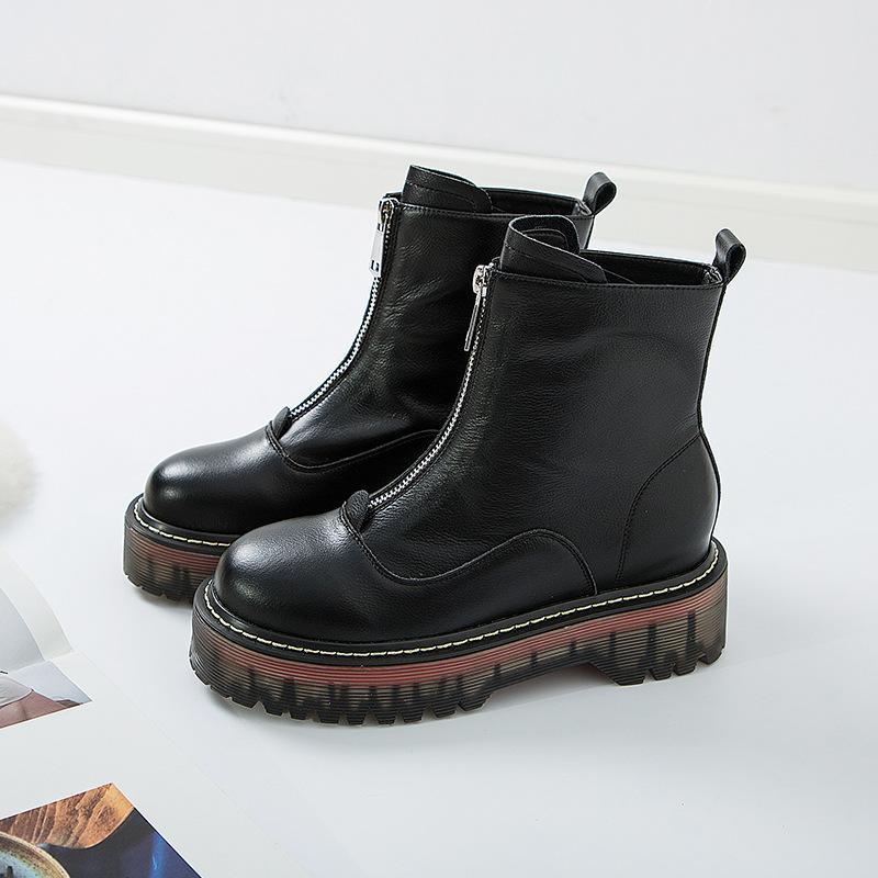 Venta-Con caja de zapatos de las mujeres zapatos de moda elegante caliente de grado superior zapatos de cuero de vaca de calidad cremallera Martin botas botas de tacón grueso para la mujer zy511