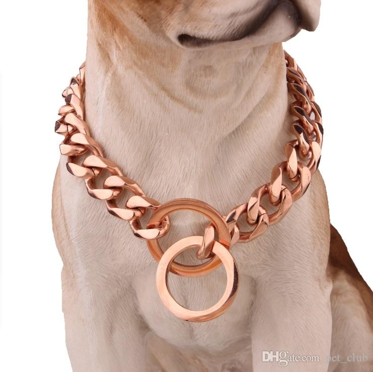 15mm Rose Gold Dog Chain Collar Stainless Steel Hollow Curb Chain Pet Dog Choke for Pit Bull, Mastiff, Big Breeds