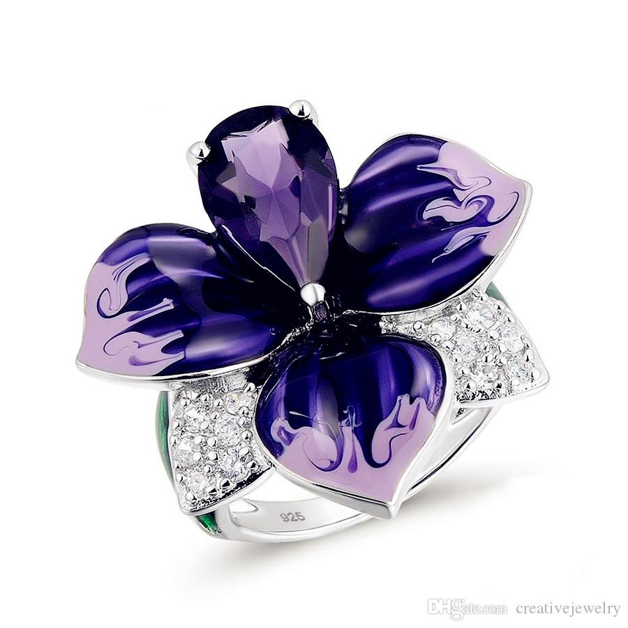 Fashion Women Ring Wholesale Enamel Cloisonne Crafts Butterfly Ring US Size 5-12 Anniversary Day Gift Thanksgiving Day Gift