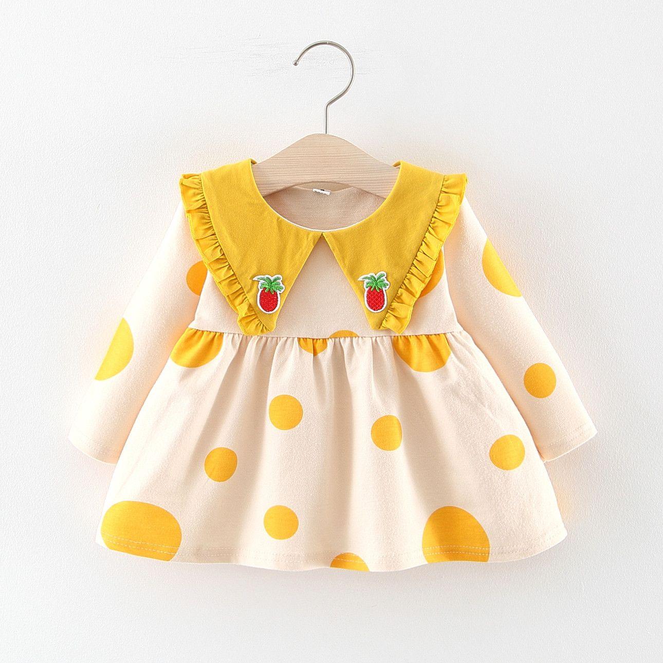 ربيع الخريف الفتيات ملابس Pricess اللباس طويلة الأكمام منقطة اللباس الأنيق فتاة الملابس اللباس