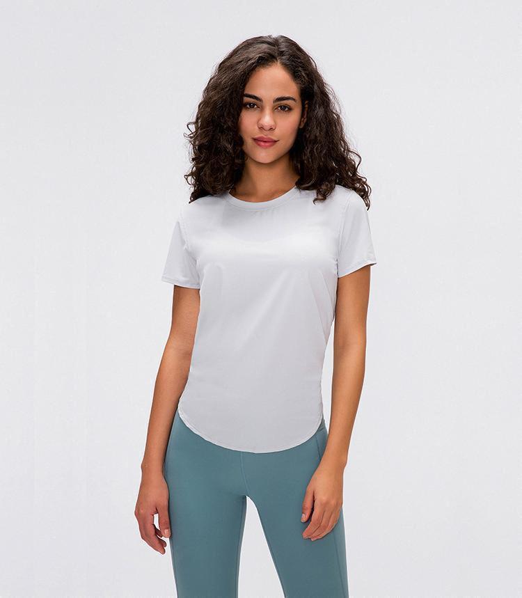 2020 LULU Noticias Yoga señora Tops manga corta de las camisetas de las mujeres aptitud del entrenamiento Deportes Correr camisas correa de secado rápido respirable flojo Blo04a7 #