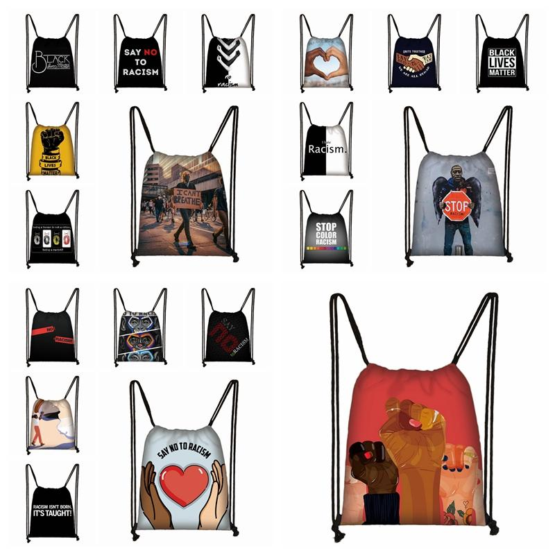Black Lives Matter Drawstring Backpack I CAN'T BREATHE Parade Shopping Bag George Floyd Printed Portable Travel Storage Bags 19styles R3150