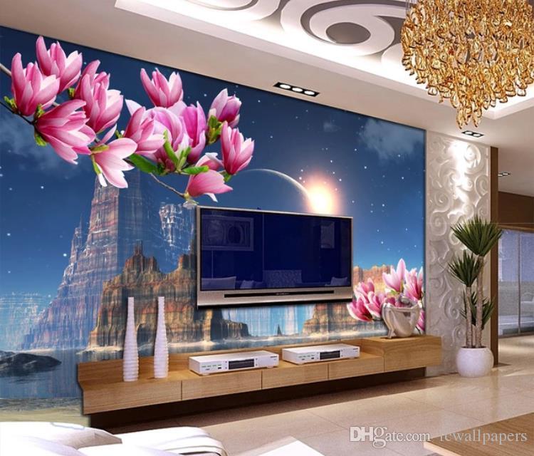 3D Fondos de encargo mural de papel tapiz de vida habitación 3D sala de decoración para el hogar Castillo de la fantasía planeta mariposa flor de magnolia reflexión