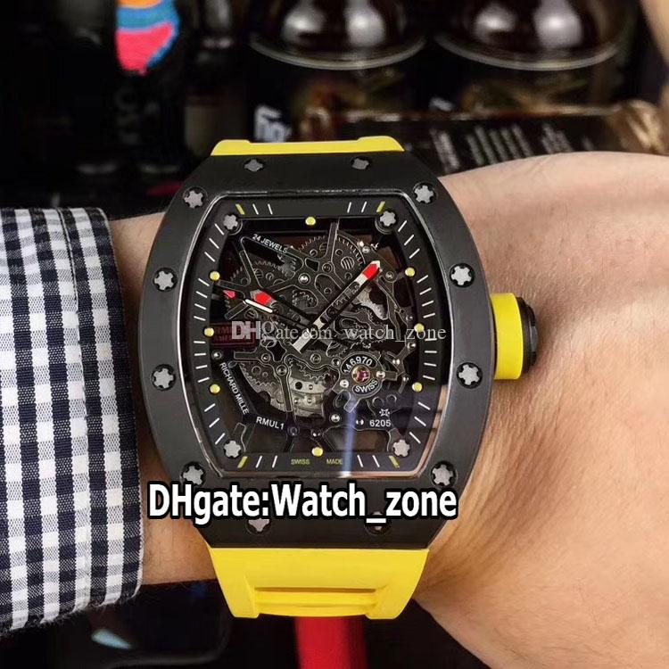 New RM035 AMERICA5 Y-TZP Ceramic Case Skeleton Dial Japan Miyota NH Automatic RM035 Mens Watch Sapphire Yellow Rubber Strap Sport Watches