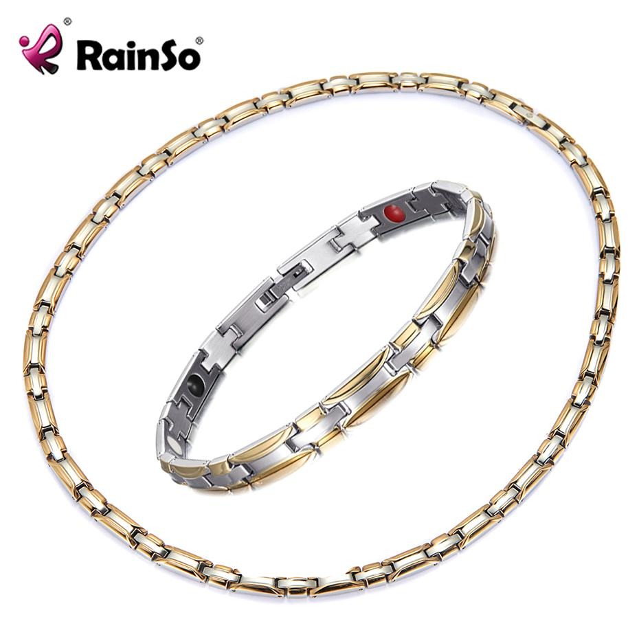wholesale Jewelry sets Healthy Magnetic Necklace Bracelet Sets for Women Bio Energy Fashion Magnetic Therapy Hologram Jewellry