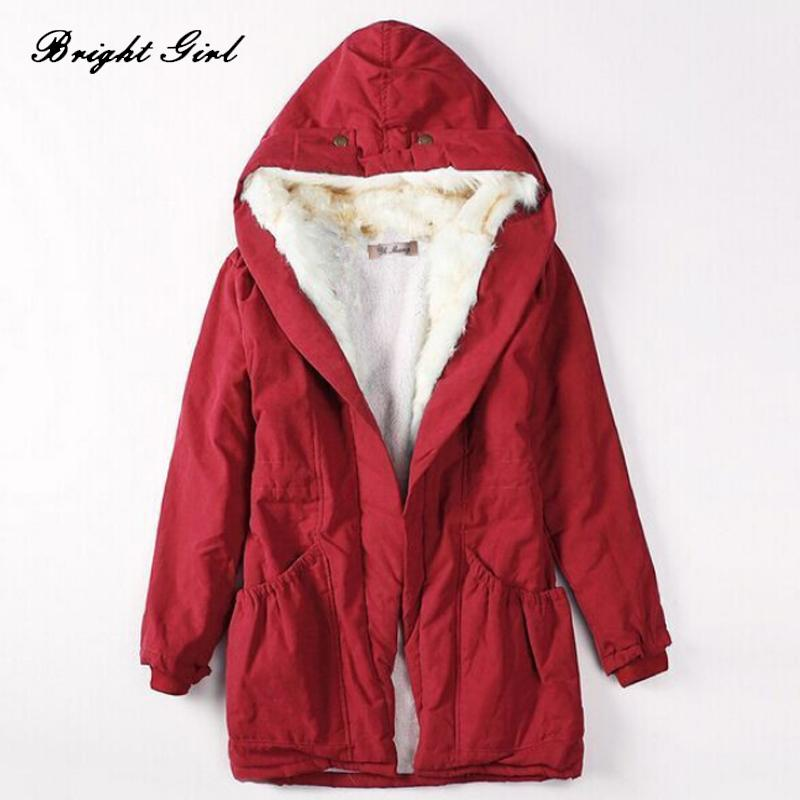 BRIGHT GIRL Women Winter Coat Thickened and Slim Big Wool Collar Cotton-padded Coat for Girl Fashion Casual Women's Jackets