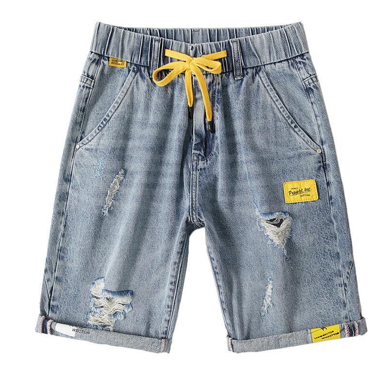 Men's Denim Shorts Casual Straight Slim Plus Size Cotton Shorts Knee Length High Quality Blue Men's Pants 28-42 T200410