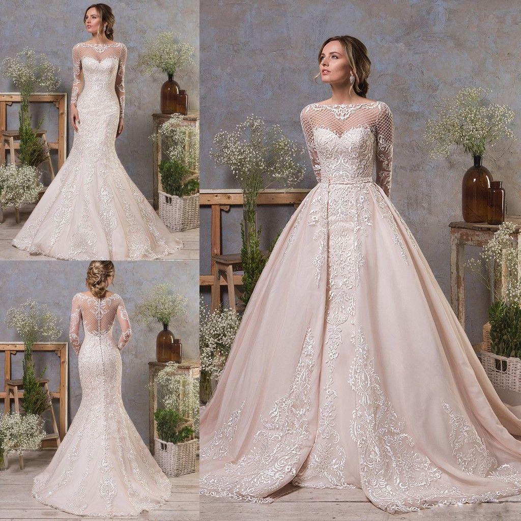 2019 vestido de novia vestidos de boda magnífico de la sirena del tren desmontable Con cuello de la joya de encaje apliques de manga larga de los vestidos de novia de playa personalizada