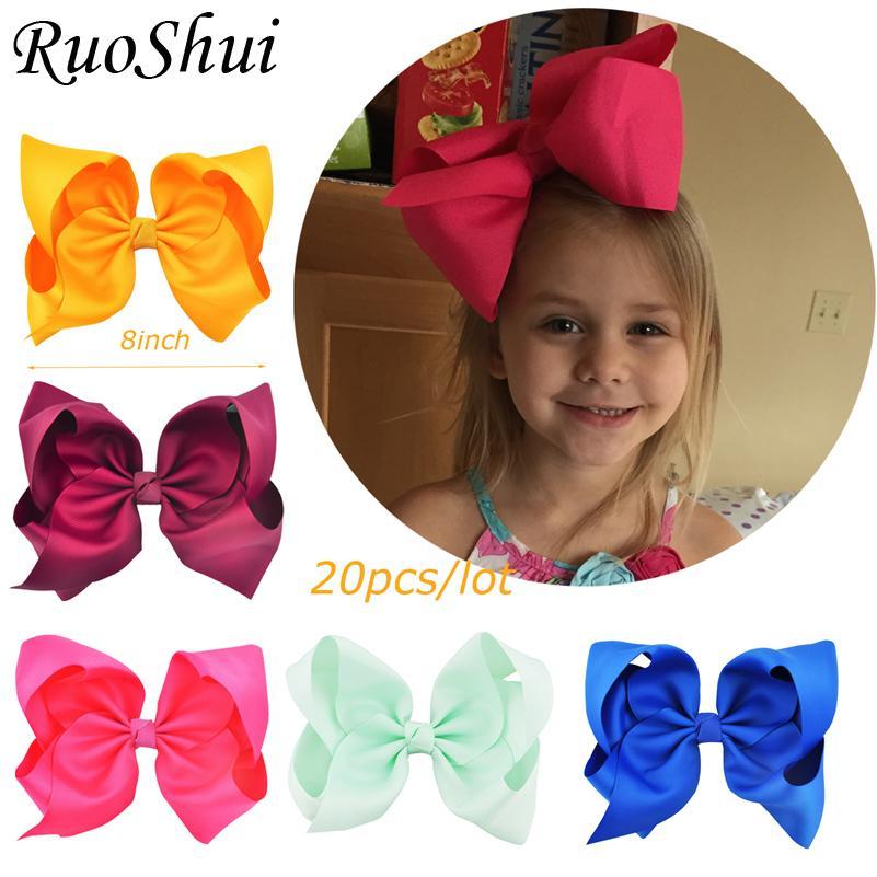 20pcs Baby Kids Girls Grosgrain Ribbon Bow Hair Clip Hairpin Alligator Clips ^F