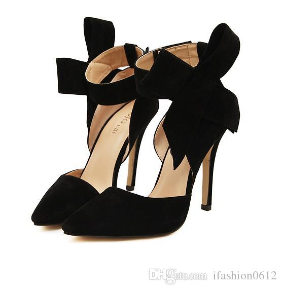 Мода Плюс Размер Обуви Женщины Большой Галстук-Бабочка Насосы 2015 Бабочка Остроконечные Шпильки Женская Обувь Высокие Каблуки Замша Свадебная Обувь Ночной Клуб Обувь