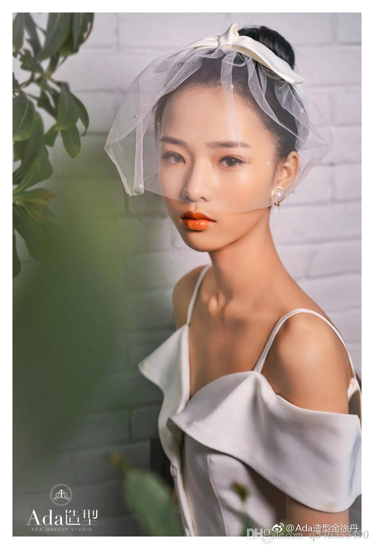 2019 New Korean bride retro pearl simple short veil veil wedding dress accessories travel styling head jewelry