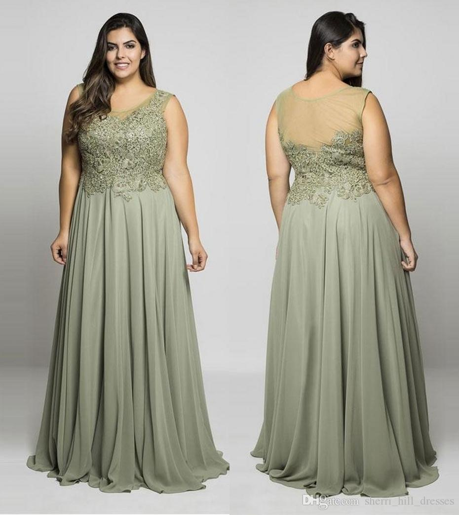 Más el tamaño de encaje madre vestidos de fiesta Sheer Scoop cuello lentejuelas vestidos de noche una línea de longitud del piso largo gasa vestido Formal DH5033
