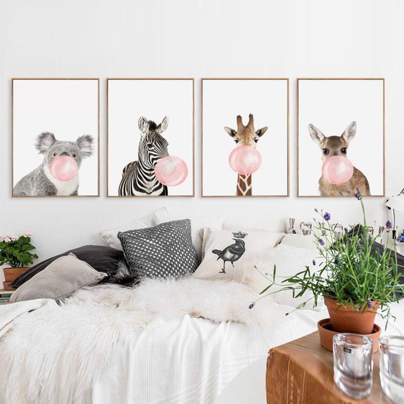 Bolha Gum Girafa Zebra Animais Cartazes Pintura Da Arte Da Lona Arte Da Parede Do Berçário Imagem Decorativa Estilo Nórdico Crianças Deco