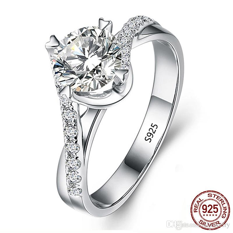 100% Genuine 925 Sterling Silver Wedding Rings for Women 6mm 1 Carat CZ Diamant Engagement Ring Fine Jewelry Gift XR071